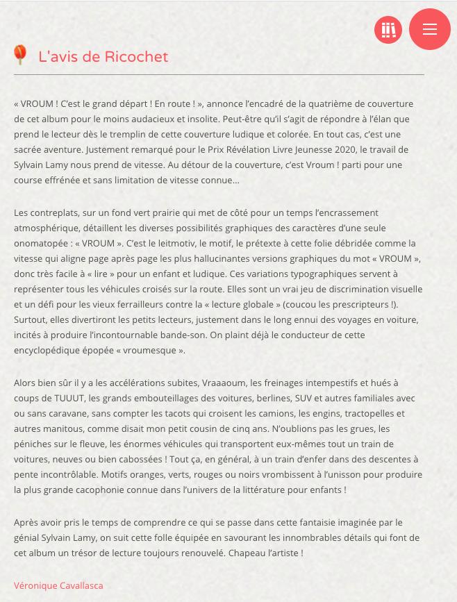 Chronique de Ricochet sur Le grand départ, VROUM