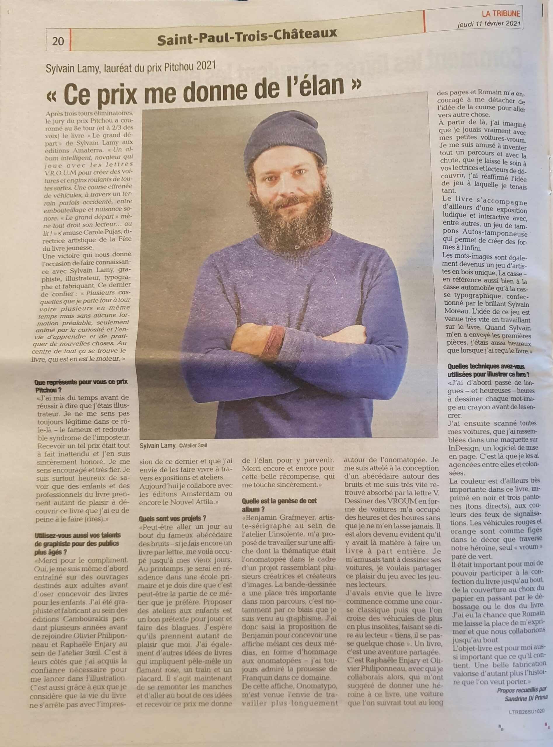 La tribune - interview prix Pitchou Le Grand départ